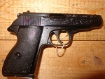 AP 66 .380 auto semi auto pistol hege waffen west germany  Verygood condition, fancy engraving on one side of slide