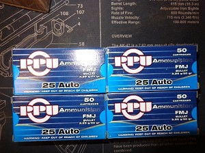PPU 25 Auto 50gr FMJ  1000 rds